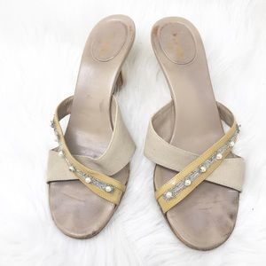 CHANEL Womens Beige Thong Sandals Size 7.5